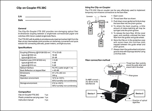Fiber Optic Clip-On Coupler Manual
